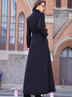 Solid Color A Line Long WoolBlend Overcoat