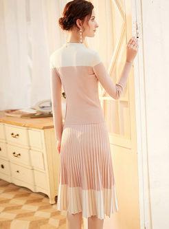 Color-blocked Slim Sweater Pleated Suit Dress