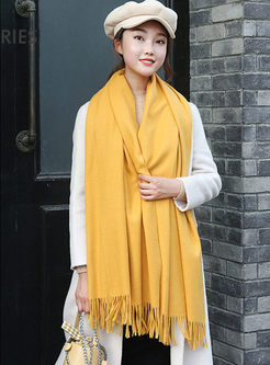 Solid Color Fringed Poncho Scarf