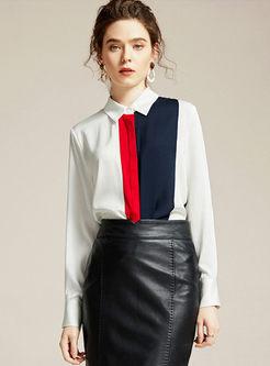 Color-blocked Lapel Slim Silk Blouse