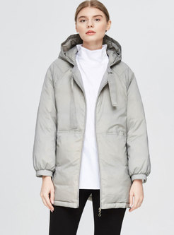Solid Color Hooded Straight Loose Down Coat