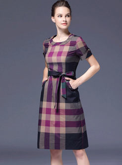 Crew Neck Color-blocked Plaid Slim Dress