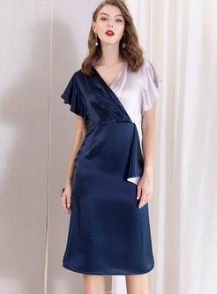 Color-blocked V-neck High Waisted Bodycon Dress