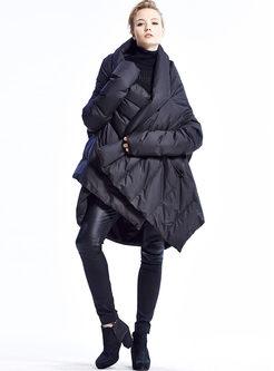 Hooded Bat Sleeve Irregular Puffer Coat