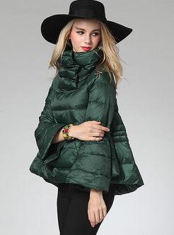 Solid Color Turtleneck A Line Puffer Coat