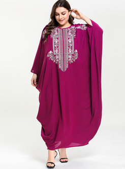 Plus Size Bat Sleeve Embroidered Maxi Dress