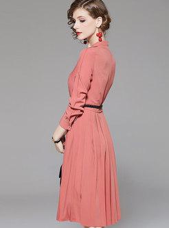 Solid Color V-neck Pleated Skater Dress