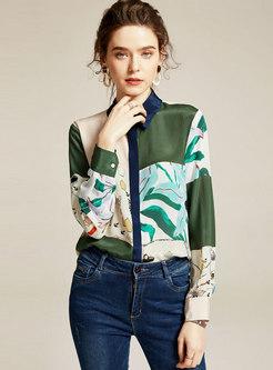 Print Patchwork Zip-up Silk Blouse