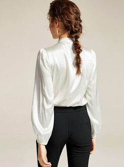 Solid Color Bowknot V-neck Blouse
