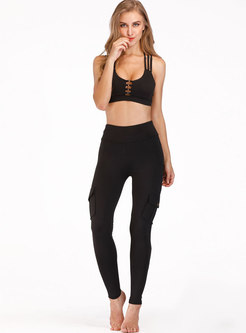 High Waisted Skinny Patchwork Yoga Pants