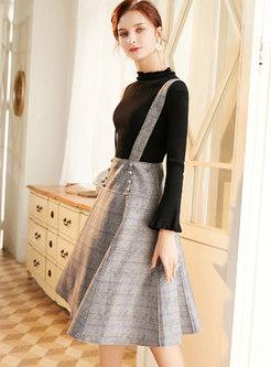 Knit Top Plaid Suit Dress