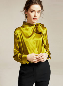 Bowknot Mock Neck Pullover Silk Blouse