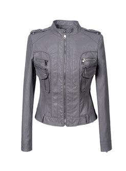 Mock Neck Slim Short PU Motorcycle Jacket