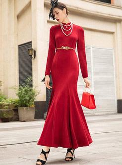 Red Mandarin Collar Bodycon Peplum Maxi Dress