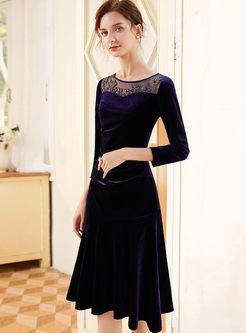 Long Sleeve Velvet A Line Dress