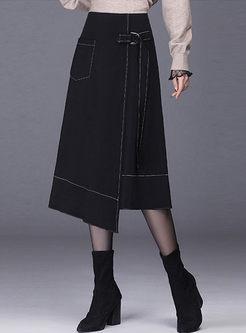Black High Waisted A Line Asymmetric Skirt
