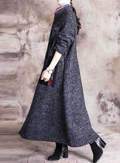 Mock Neck Patchwork Color-blocked Long WoolBlend Coat