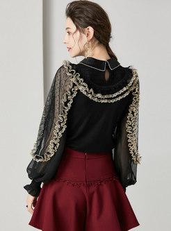 Lantern Sleeve Mesh Patchwork Falbala Pullover Sweater