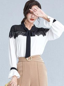 Tie Patchwork Slim Pullover Blouse