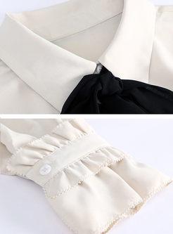 White Bowknot Long Sleeve Blouse