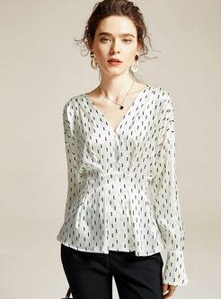 V-neck Flare Sleeve Pullover Blouse