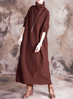 Solid Color Turtleneck Sweater Dress