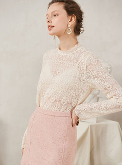 Mock Neck Lace Pullover Slim Blouse