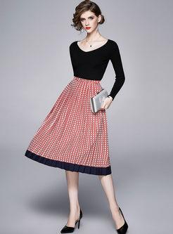 V-neck Pullover Striped A Line Suit Dress