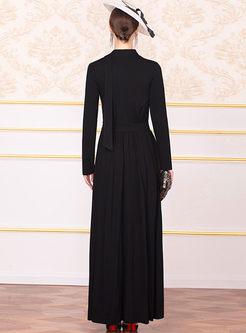 Black Long Sleeve Big Hem Maxi Dress