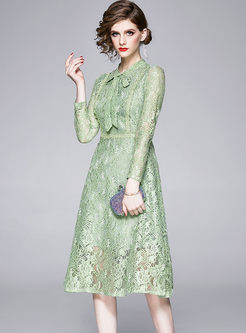 Bowknot Openwork Lace A Line Dress