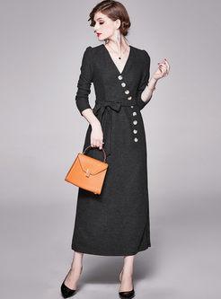 Black V-neck Long Sleeve Wrap Maxi Dress