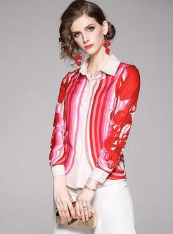 Lapel Long Sleeve Multicolor Striped Blouse