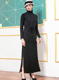 Turtleneck Drawcord Slit Sweater Maxi Dress