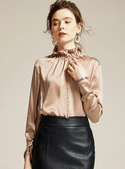 Pure Color Turtleneck Pleated Pullover Silk Blouse