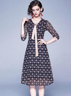V-neck Patchwork Lace Openwork A Line Dress