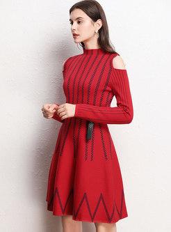 Cold Shoulder Color-blocked Sweater Dress With Belt