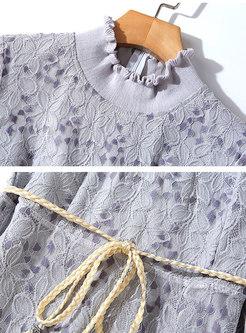 Lace Openwork Patchwork Tie Skater Dress