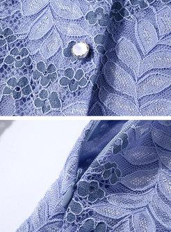Mock Neck Single-breasted Lace Patchwork Skater Dress
