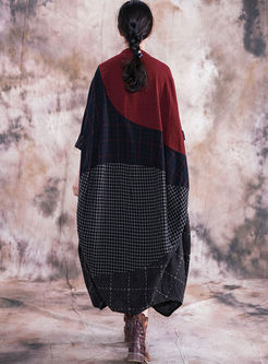 V-neck Linen Patchwork Plaid Shift Dress