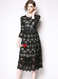 Black High Waisted Lace A Line Dress