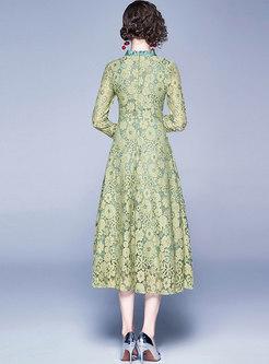 V-neck Patchwork Lace Openwork Empire Waist Dress