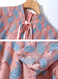 Mock Neck Openwork Lace Skater Dress