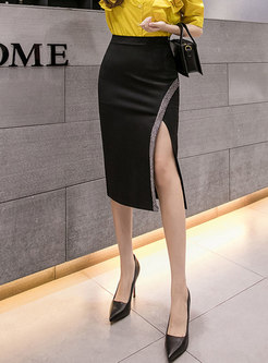 High Waisted Split Bodycon Skirt