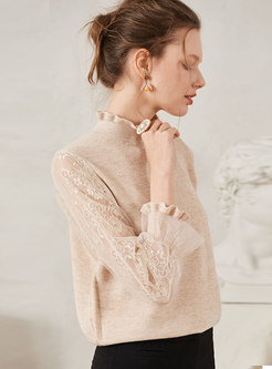 Mock Neck Patchwork Lace Pullover Sweater