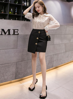 Irregular Mini Bodycon Empire Waist Skirt