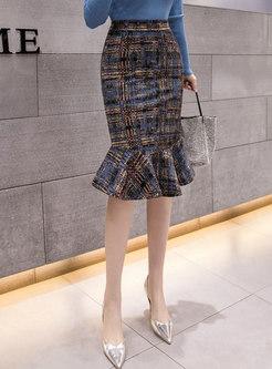High Waisted Plaid Bodycon Peplum Skirt
