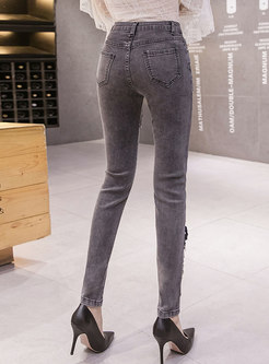 High Waisted Embroidery Patchwork Denim Pencil Pants
