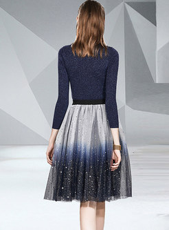 V-neck Slim Knitted Top & Pleated Mesh Skirt