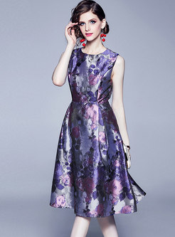 Crew Neck Sleeveless Jacquard Print Skater Dress