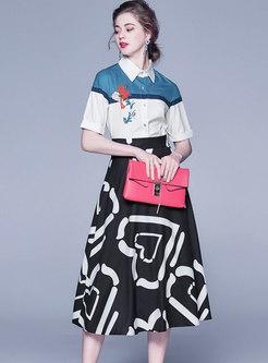 Print Color-blocked Patchwork Suit Dress